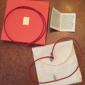 James Avery red leather cord cross necklace